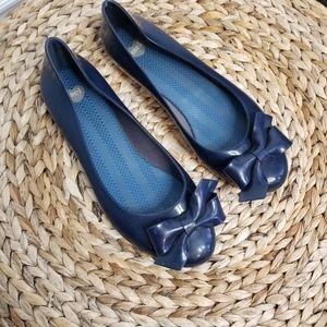 Melissa rubber jelly ballet shoe flats navy blue